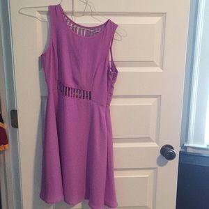 Purple shift dress with cutouts